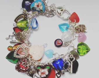 Love hearts charm Bracelet, charm bracelet, loaded, love hearts, mix colour, love hearts bracelet, By NewellsJewels on etsy