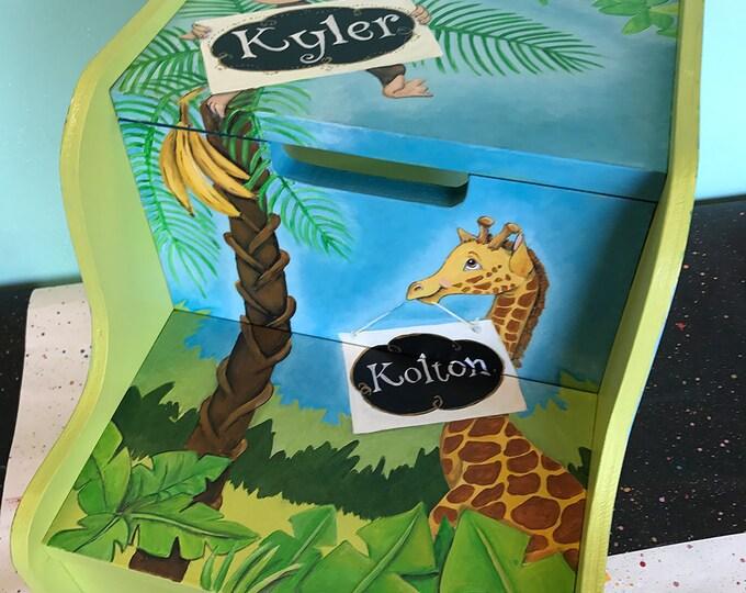 Personalized Step Stool - Jungle Design