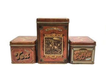 Kitchen Canister Tin Set with Vintage Advertising Design, Rustic Kitchen Decor Storage Canisters for Tea ~ Coffee ~ Sugar