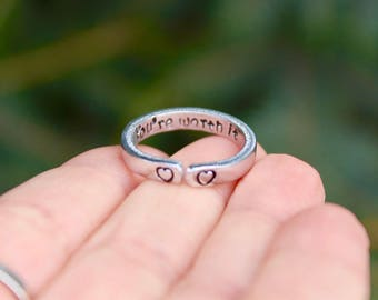 You're Worth It Mantra Ring, Adjustable Ring, Hand-Stamped Heart Ring, Stackable Ring, Secret Message Stamped Inside, Inspirational Ring