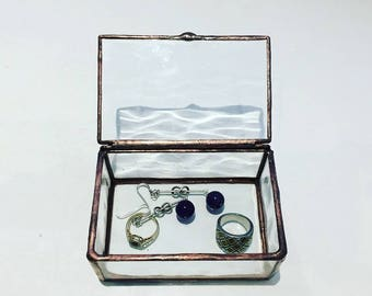 Stained Glass ring Box, Jewelry Box, Water Glass Ring Box,Wedding Ring Box, Engagment Ring Box,