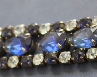 Estate high-end Blue Rhinestone Bracelet  6 1/2 inches