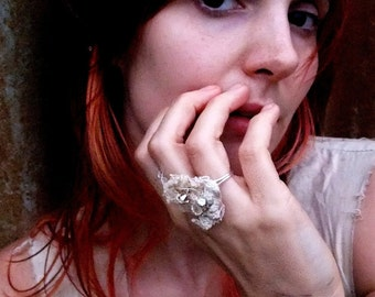 Ethereal Textile ring - vintage laces and swarovski crystals