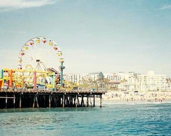 Santa Monica Pier Photograph, California, Large Art, Pacific Wheel, Los Angeles, Beach Canvas Art,  Aqua Blue Summer, Beach Photography