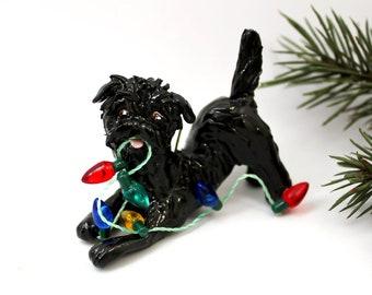 Affenpinscher PORCELAIN Christmas Ornament Figurine Lights