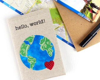 Hello, World! Passport Travel Document Holder Gifts for Travellers Linen Passport Cover Travel Accessory Gifts for Her