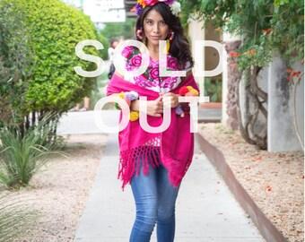 Mexican Rebozo/Shawl/Hand Woven Shawl/Pink