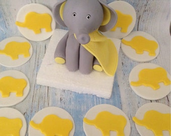 Baby Elephant cake topper with 12 cupcake toppers