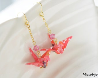 Origami Crane Earrings - Red Pink