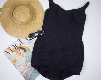 50s Pin Up Swimsuit Black Ruched Bombshell Bathing Suit One Piece Swimsuit Women's Small  38 B
