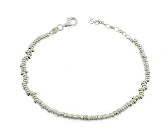 3 mm Sterling silver bracelet 925 Sterling allergenic white gold plated cuff weight 6.7 g