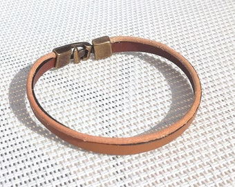 Mixed Brown and natural leather bracelet