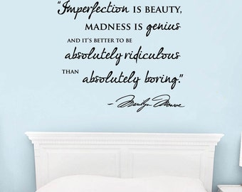 """Wall Vinyl Decal """"Imperfection is beauty"""" saying by Marilyn Monroe with Marilyn's signature"""