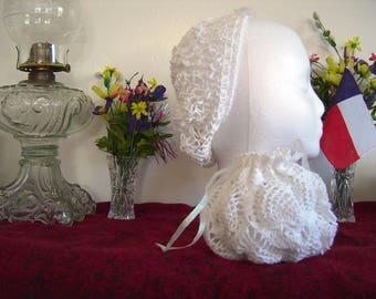 Iridescent White Crocheted Snood and Reticule Set