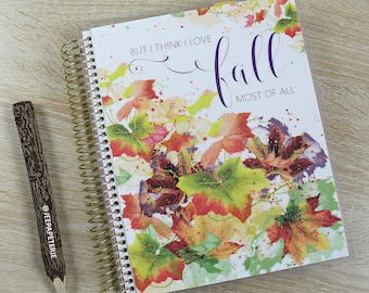 "Fall/Autumn Planner COVER: for Erin Condren Planner Cover, Happy Planner Cover, Recollections Cover, Levenger ""But I Think I Love Fall"""