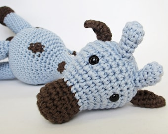 Amigurumi Giraffe Baby Toy Rattle - organic cotton - blue and brown - eco friendly toy