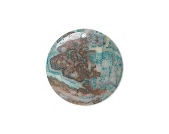 Focal gemstone component crazy lace agate dyed, blue flat round 45mm, agate crazy lace focal.