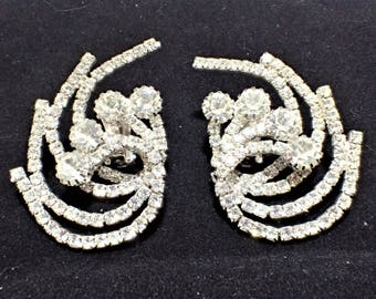 Huge Spiral Clear Prong Set Rhinestone Clip Back Earrings Bridal Earrings, Formal Jewelry, Over The Top Earrings, Wedding Jewelry