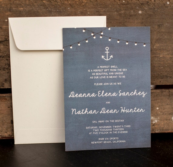Wedding Invitation, Rustic Wedding Invitation, Nautical Wedding Invitation, Blue Wedding Invitation, anchor wedding invitation - The Deanna