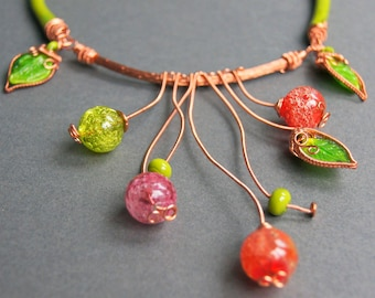 Colorful Spring Copper Wire Wrapped Lampwork Necklace, Boho Necklace, Lampwork Beads Necklace, Wire Wrap Necklace, Viking Knit, Gift for Her