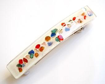 Cream Hair Slide with Rainbow colours hair clip - Fused Glass Hair Clip - French Barrette - Hair Accessories - Barrette - EB 716