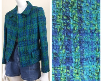 blue & green tweed wool jacket w/ pockets 60s