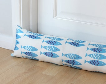 Draught Excluder Newlyn Fish Blue Patterned Fabric Scandi Home Coastal Animal Print Kids Long UK