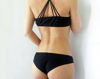 Swimsuit Strappy top and brazilian panties / Black swimsuit / Cheeky bikini bottoms / Scrunched Bottom / Women swimwear