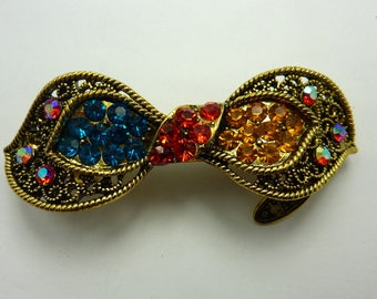 Barrette old gold and rhinestone color blue, red, yellow gold 5 cms