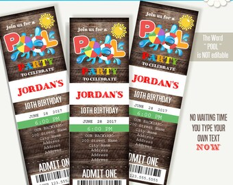 Pool party ticket invitation, Printable ticket invitation template, Instant Download Self Editable PDF File A278