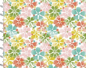 Summer Skies - Floral Toss Multi by Jenean Morrison from 3 Wishes Fabric