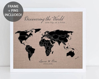 World map pin board etsy discovering the world pushpin map personalised world pinboard map traveller gift wedding gift gumiabroncs Images