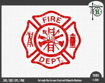 Digital Design Fire Department Maltese Cross Instant Download -  Includes Svg, png, dxf, & eps.