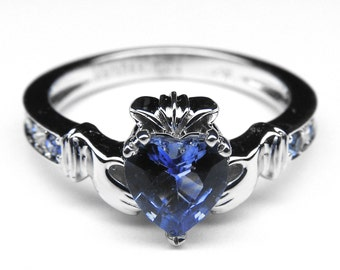 Claddagh Ring Heart Blue Sapphire 14K White Gold Ring with Blue Sapphire & Diamonds