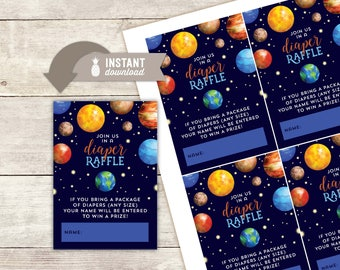 "Diaper Raffle Inserts: Outer Space Baby Shower Design - 4 (3.5"" x 5"") Cards on an 8.5"" x 11"" Page - Printable File"