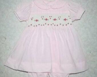 Easter Pink smocked dress , baby girl smocked dress set , smock girls dress , monogramed