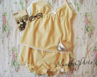Vintage Inspired Lolita Gingham Babydoll And Bloomers by BlancheOfArts
