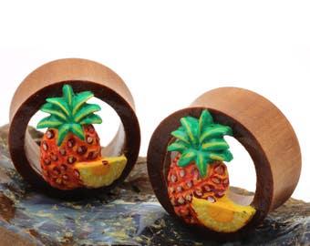 Double Flare Organic Wood Tunnel Plugs Pineapple Fruit Design
