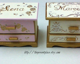 Two hand painted jewelry boxes,gold,ivory,roses,personalized,girls jewelry box,sisters gift,flower girl gift,gold and ivory kids jewelry box