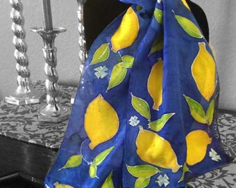 "Mothers Day Gift Present, Hand-Painted Silk Scarf: ""Capri Lemons"" -Blue and Yellow Lemons, Unique Gift, 11""x60"" Long Silk Scarf"