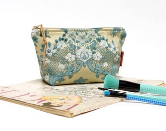 Blue Velvet Cosmetic Bag, floral makeup bag, zipper pouch handmade from vintage cut velvet upholstery fabric by EllaOsix