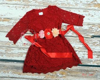 READY-to-SHIP * Red Lace Girl Dress, Flower Girl Dress, Rustic Wedding Dress, Country Wedding, Bridesmaid,Birthday Girl Dress,Christmas