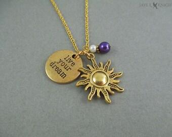 Rapunzel Sun  Etsy. Phi Swarovski Medallion. Small Medallion. Special Medallion. Necklaces Medallion. Pendant Gold Medallion. Heart Medallion. Praying Hands Medallion. Jewelry Necklace Medallion