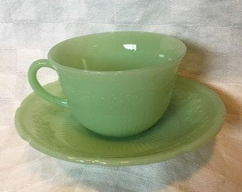 Vintage Fire King Green Jadeite Jadite Tea Cup & Saucer Set - Alice Pattern  - More Available