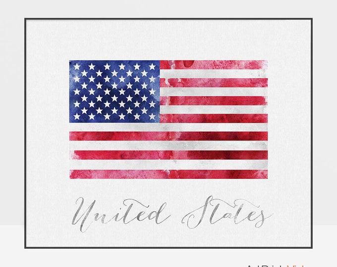 United States of America flag print, American flag poster, watercolor, Wall art, USA flag, office decor, Home Decor, Gift, ArtPrintsVicky
