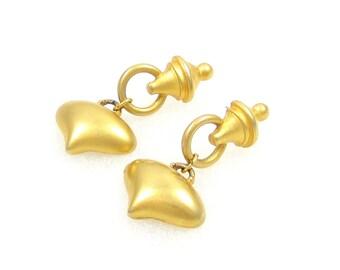Profiles gold earrings/ gold dangle earrings/ egyptian earrings/ gold tone earrings/ estate jewelry/ cleopatra/ long earrings/ gold