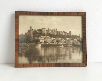 Vintage Framed Original Sepia Photograph Château de Chinon French Landscape Castle