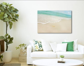 Beach Canvas Starfish Photo Sand Sea Aqua Waves, Gallery Wrapped Canvas, Beachy Cottage Large Wall Art Photography Mint Cream Ocean