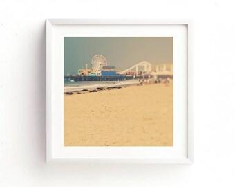 framed beach photograph, ferris wheel print, Santa Monica photography, LA art, framed baby nursery print, carnival art, Los Angeles art