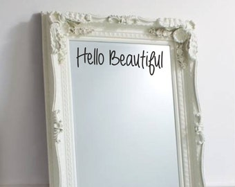 Hello Beautiful Sticker For Wall Or Mirror Decal Adhesive Vinyl Quote Words || WQA88